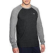 Mens Champion C Vapor Cotton Tee Long Sleeve Technical Tops - Ebony/Oxford Grey L