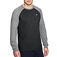 Mens Champion C Vapor Cotton Tee Long Sleeve Technical Tops - Ebony/Oxford Grey XXL
