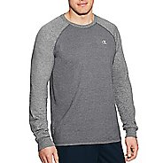 Mens Champion C Vapor Cotton Tee Long Sleeve Technical Tops - Granite/Oxford Grey L