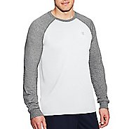 Mens Champion C Vapor Cotton Tee Long Sleeve Technical Tops - White/Oxford Grey L