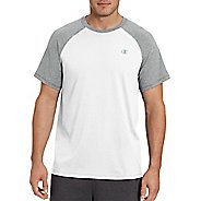 Mens Champion C Vapor Cotton Tee Short Sleeve Technical Tops - White/Oxford Grey S