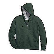 Mens Champion Powerblend Fleece Full Zip Half-Zips & Hoodies Technical Tops - Dark Green M