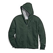Mens Champion Powerblend Fleece Full Zip Half-Zips & Hoodies Technical Tops - Dark Green S