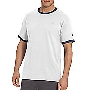 Mens Champion Classic Jersey Ringer Tee Short Sleeve Technical Tops - Granite Heather/BK XL