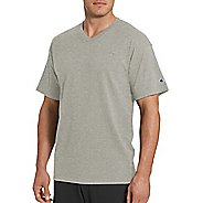 Mens Champion Classic Jersey V-Neck Short Sleeve Technical Tops - Oxford Grey XL