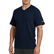 Mens Champion Classic Jersey V-Neck Short Sleeve Technical Tops - Granite Heather L