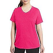 Womens Champion Vapor Plus Jersey V-Neck Tee Short Sleeve Technical Tops - Pop Art Pink Heather XL