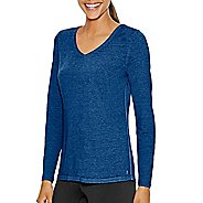Womens Champion Authentic Wash Tee Long Sleeve Technical Tops - Oxford Grey Heather M