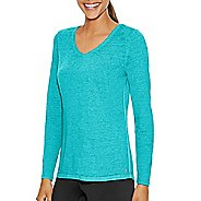 Womens Champion Authentic Wash Tee Long Sleeve Technical Tops - Upbeat Teal XL