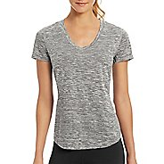 Womens Champion C Vapor Dash Stripe Tee Short Sleeve Technical Tops - Granite Heather XS