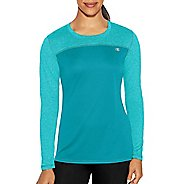 Womens Champion C Vapor Heather Tee Long Sleeve Technical Tops - Upbeat Teal Heather XL