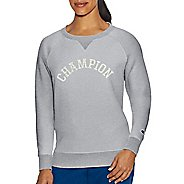 Womens Champion Heritage Fleece Crew Long Sleeve Technical Tops - Oxford Grey Heather XL