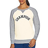 Womens Champion Heritage Fleece Crew Long Sleeve Technical Tops - White Alabaster XXL