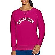 Womens Champion Heritage Fleece Crew Long Sleeve Technical Tops - Deep Raspberry XXL