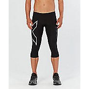 Mens 2XU Heat Compression 3/4 Compression Tights - Black/Silver XL