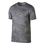 Mens Nike Dry Legend Camo Short Sleeve Technical Tops - Atmosphere Grey M