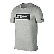 Mens Nike Dry Don't Quit Short Sleeve Technical Tops - Dark Grey Heather L