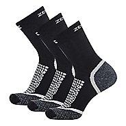 Zensah Grit Mini Crew Running 3 Pack Socks - Black M