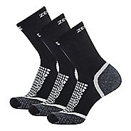 Zensah Grit Mini Crew Running 3 Pack Socks - Black XL