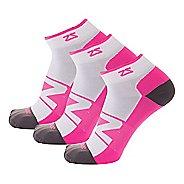 Zensah Peek Running 3 Pack Socks - White/Neon Pink S