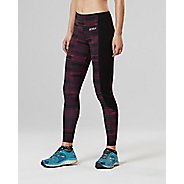 Womens 2XU Fitness with Storage Compression Tights - Black/Pink XL