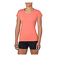 Womens ASICS Capsleeve Short Sleeve Technical Tops - Coralicious Heather M