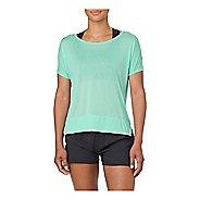 Womens ASICS Crop Short Sleeve Technical Tops - Opal Green XL