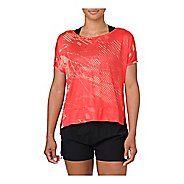 Womens ASICS Crop Short Sleeve Technical Tops - Shadow Coralicious L