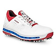Mens Ecco Golf Cool 18 GTX Cleated Shoe - White/Tomato 10.5