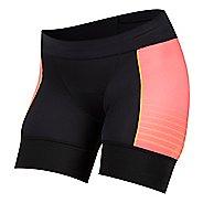 Womens Pearl Izumi Elite Pursuit Tri Half Unlined Shorts - Black/Orange Pop XS