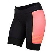 Womens Pearl Izumi Elite Pursuit Tri Unlined Shorts - Black/Orange Pop L
