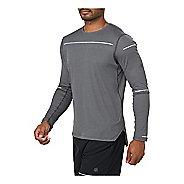 Mens ASICS Lite-Show Long Sleeve Technical Tops - Dark Grey XL