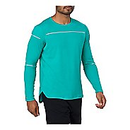 Mens ASICS Lite-Show Long Sleeve Technical Tops - Lake Blue S