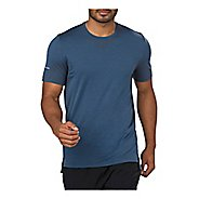 Mens ASICS Seamless Short Sleeve Technical Tops - Dark Blue Heather L