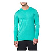 Mens ASICS Seamless Long Sleeve Technical Tops - Lake Blue Heather L