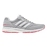 Womens adidas Adizero Boston 7 Running Shoe - Grey/Shock Red 9