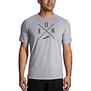 Mens Brooks Distance Graphic Tee Short Sleeve Technical Tops - Heather Sterling/Olive S