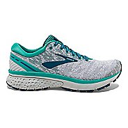 Womens Brooks Ghost 11 Running Shoe - White/Green Knit 8.5