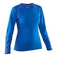 Womens Salming Running Tee Long Sleeve Technical Tops - Blue/Pink L