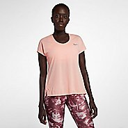 Womens Nike Miler Soft Lux Short Sleeve Technical Tops - Storm Pink M