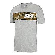 Mens Nike Dry Camo Block Tee Short Sleeve Technical Tops - Dark Grey Heather L