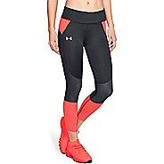Womens Under Armour SpeedPocket Run Crop Tights - Black/After Burn M