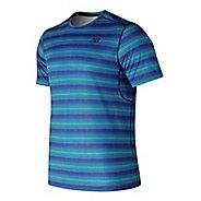 Mens New Balance Anticipate Shirt Short Sleeve Technical Tops - Blue Pigment M