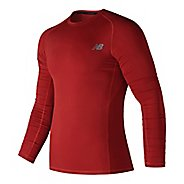 Mens New Balance Challenge Long Sleeve Technical Tops - Red XL