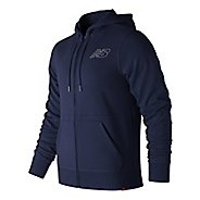 Mens New Balance Essentials French Terry Full Zip  & Hoodies Technical Tops - Blue Pigment S