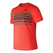 Mens New Balance Graphic Accelerate Tennis Crew Shirt Short Sleeve Technical Tops - Flame L