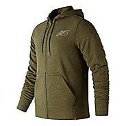 Mens New Balance Heather Full Zip  & Hoodies Technical Tops - Dark Covert Green M
