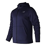 Mens New Balance NB Core Fleece Full Zip  & Hoodies Technical Tops - Blue Pigment S