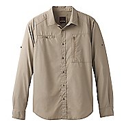 Mens Prana Kip Long Sleeve Technical Tops - Dark Khaki L