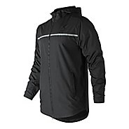 Mens New Balance Pitch Black Windbreaker Running Jackets - Black S